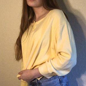 YELLOW CROPPED LONG SLEEVE VINTAGE TOP